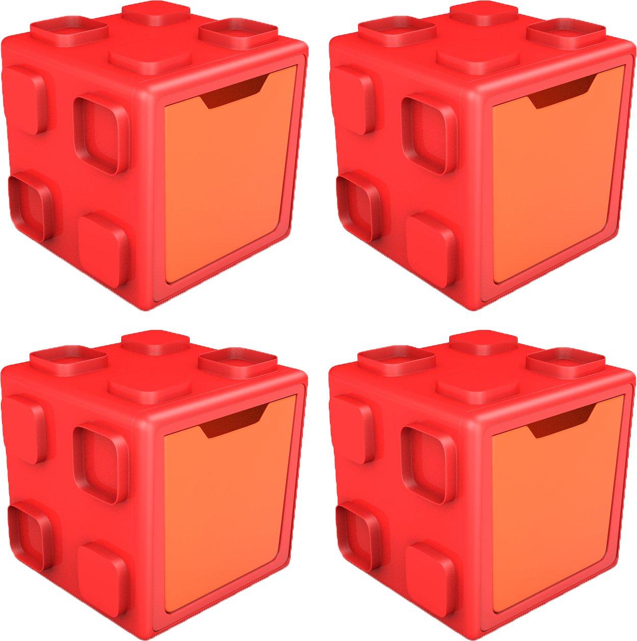 Chillafishボックス:接続可能なおもちゃストレージと再生システム Pack of 4 CPCB01REO-4PK B06X3VRRKY Red / Orange Pack of 4