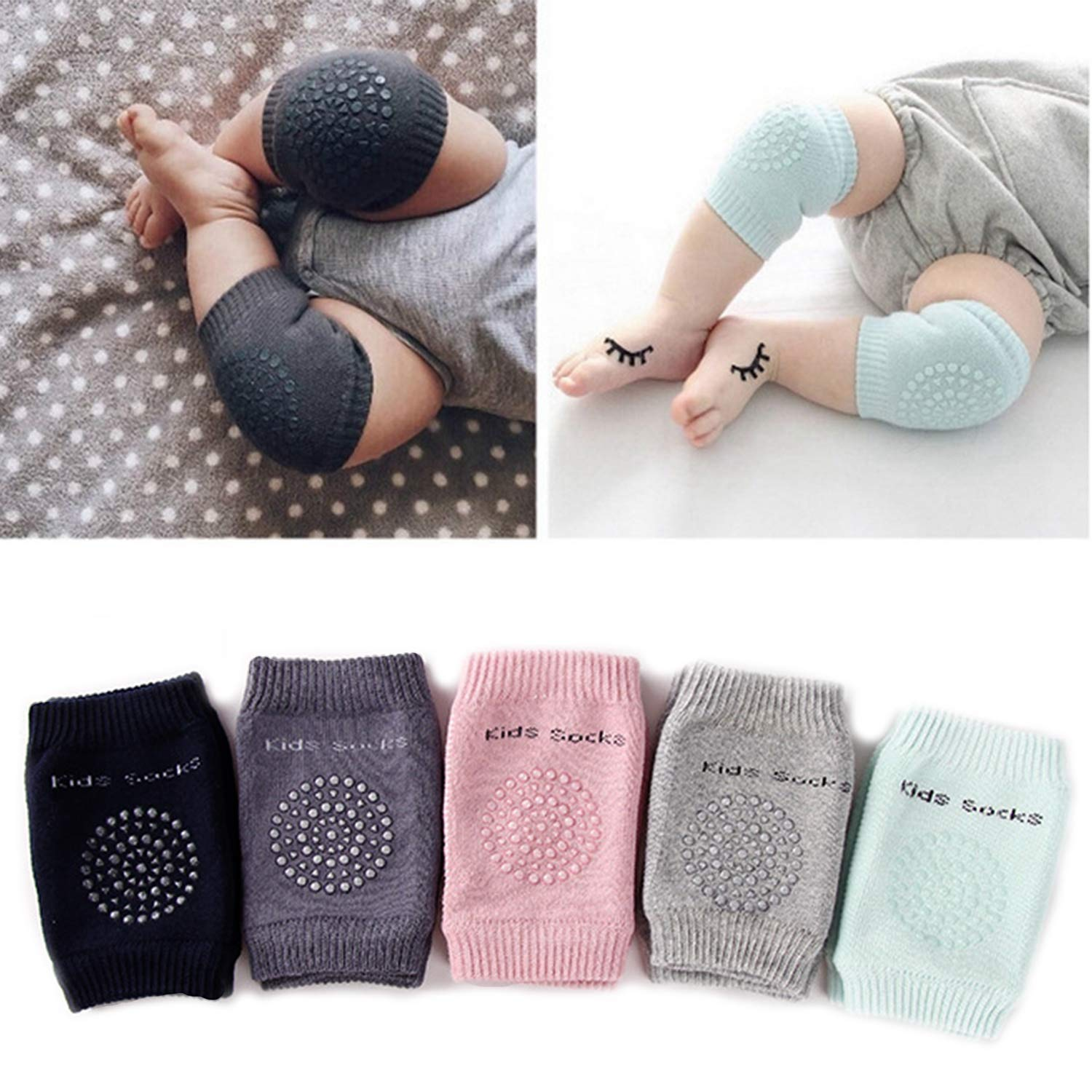 5 Pairs Baby Crawling Anti-Slip Knee Pads, Unisex Baby Toddlers Kneepads (Multiple colors)