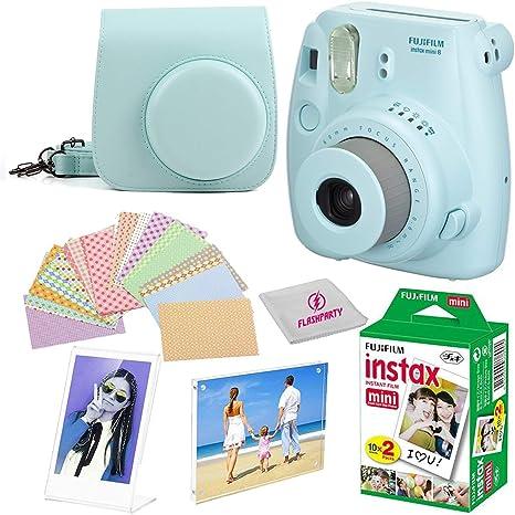 Fujifilm Instax Mini 8 Cámara instantánea fuji + funda para cámara + Instant Mini 9 Película Twin Pack + Instax frontera marco + 20 Instax imán marco de imagen pegatinas Kit + libre gamuza de limpieza: Amazon.es: Electrónica