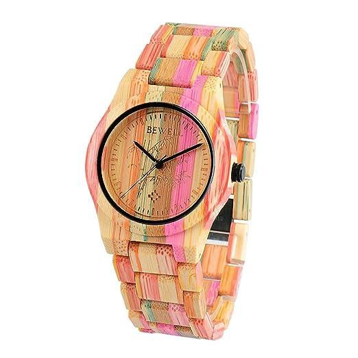 Bewell Reloj de Pulsera de Bambú Casual Colorido para Mujer, Relojes de Madera Redondos del Encanto Análogo Ligero del Cuarzo: Amazon.es: Relojes