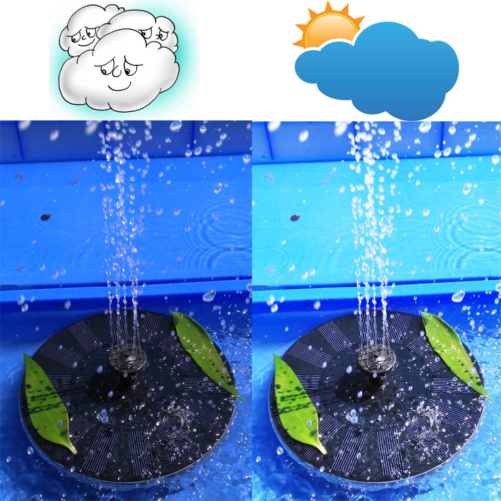 Solar Fountain,new model,work on cloudy day,Solatec Solar Powered Bird Bath Fountain Pump 1.4W Solar Panel Kit Water Pump,Outdoor Watering Submersible Pump for Pond, Pool, Garden, Fish Tank, Aquarium