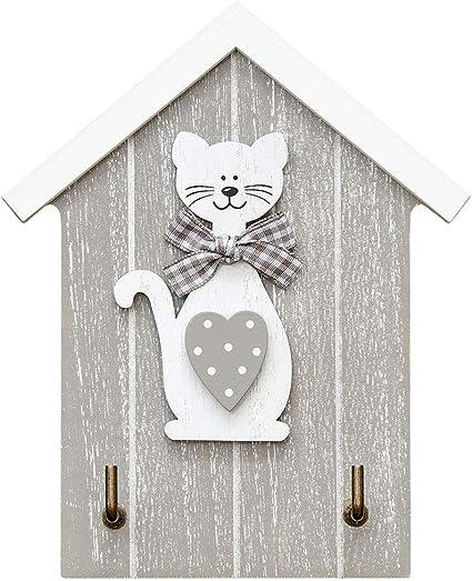 Colgador de llaves para pared en madera, estante para llaves, organizador colocar llaves con 2 ganchos- forma de casa con figura de gato, color blanco ...