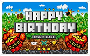 Pixelated Birthday Party Decoration Backdrop, Birthday Banner Pixelated Miner Crafting Background Video Game Backdrop Block Games Sign Decoration for Pixelated Wall Decoration Photo Props Tablecover