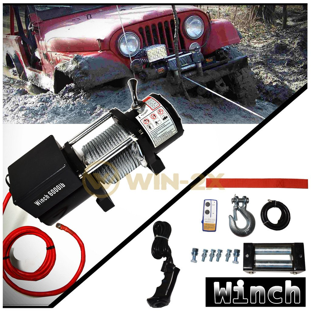 WIN-2X 1pc Brand New Universal DC 12V 6000lb / 2722kg Capacity Electric Waterproof Recovery Winch Kit With Wireless Remote Control Switch For ATV UTV Pickup Truck SUV Van Car & Multiple Applications