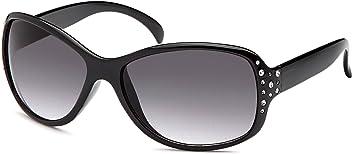 Klassische Damen Sonnenbrille Schmetterlingsbrille mit Metallapplikation am Scharnier UV 400 Filter- Im Set mit Etui