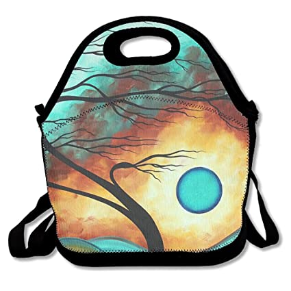 11d63a4c4 USYCHATS Original Bold Colorful Abstract Landscape Painting Lunch Bag  Insulated Neoprene Lunch Box Waterproof Tote Bag