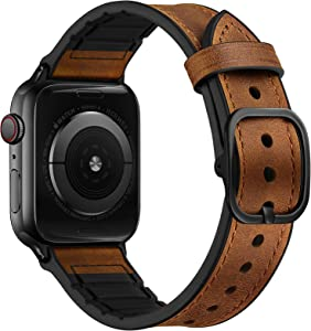 OUHENG Leather Bands Compatible with Apple Watch 44mm 42mm, Genuine Leather and Rubber Sweatproof Hybrid Band Strap Compatible for iWatch SE Series 6 5 4 3 2 1, Brown Band with Black Adapter