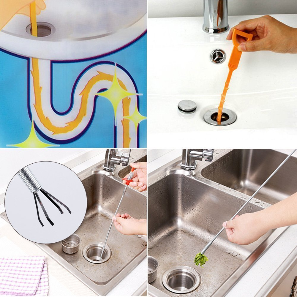 Sink Hair Catcher Clog Remover Flexible Drain Relief Auger Cleaning Tool for Bathroom Tub Kitchen Sink Slow Drain Relief Magnoloran 10 Pack Drain Snake Cleaner and Cleaning Tool Toilet