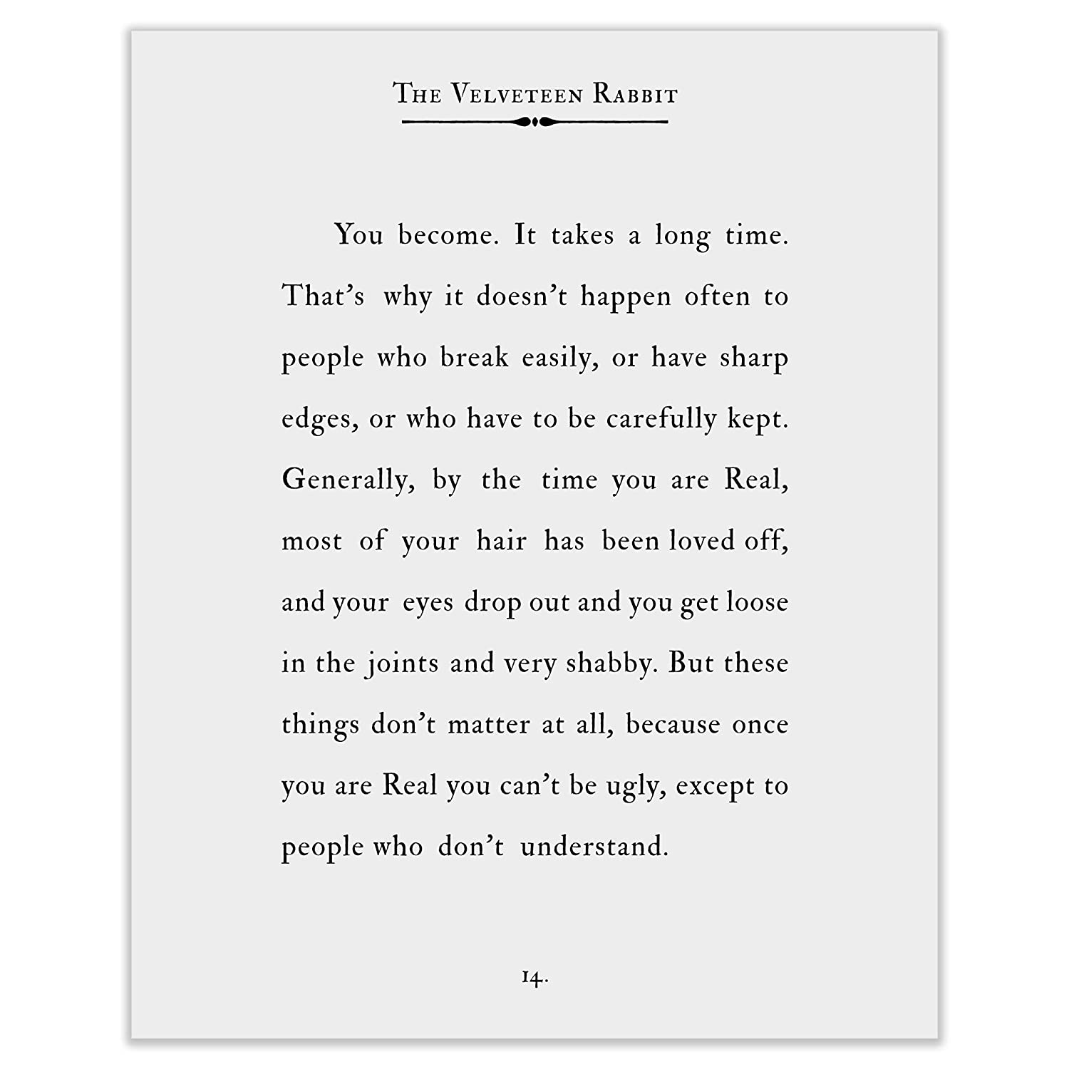 Amazon.com: Art of Observation Velveteen Rabbit Quote 8 x 10 ...