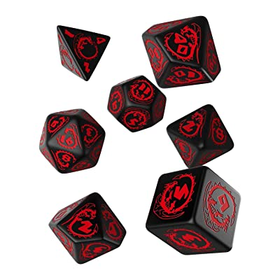 Q Workshop Dragon Black & red RPG Ornamented Dice Set 7 Polyhedral Pieces: Toys & Games