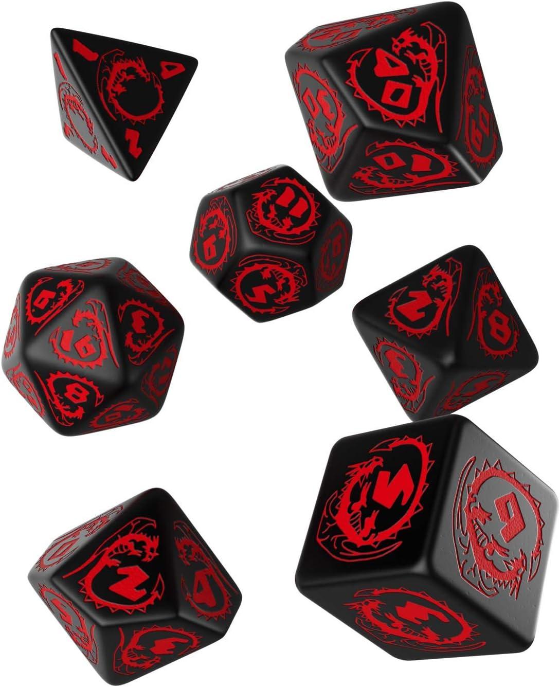 Q-Workshop Dados de Dragones (Negro-rojo)
