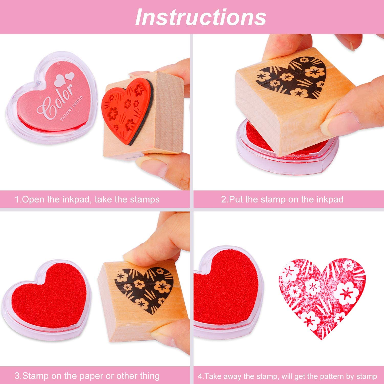 Stamps Pack for Children DIY Painting Scrapbooks Wedding Valentine Birthday Party Favor Decoration Supplies HOWAF Wooden Flowers Love Heart Stamps Set with Ink Pad for Crafting Card Making