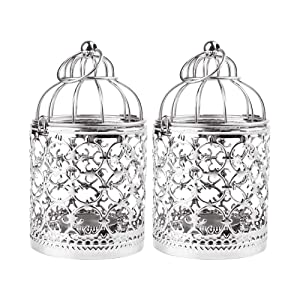Ciaoed Small Decorative Tealight Lantern Vintage Birdcage Style,Table Decoration of Party, 2 Pack(Silver)