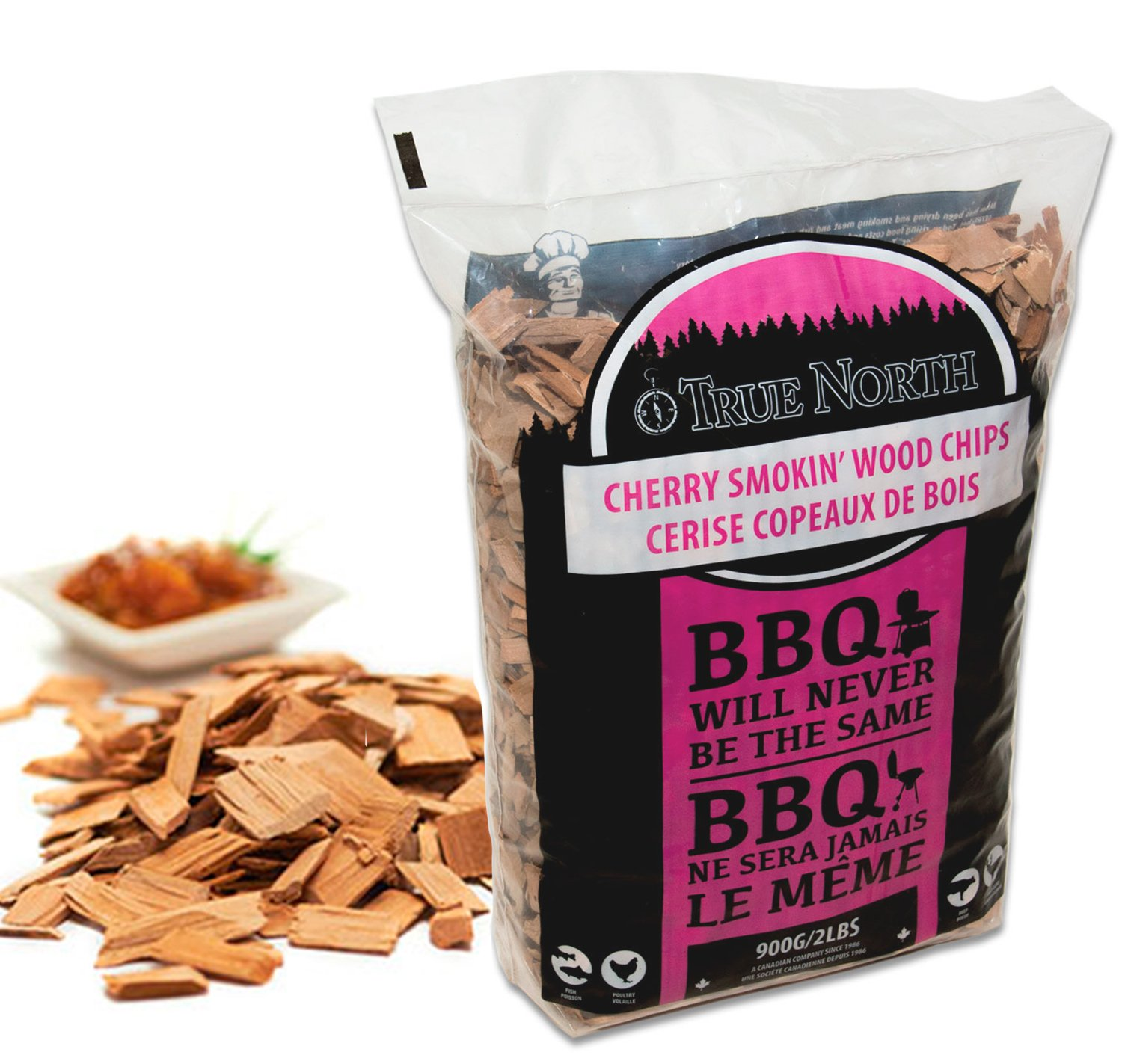 Canadian Pure and Simple Cherry smoking/smoker wood chips - for Smokers, BBQ's, Ovens, Smoking tins : 900g BBQ's