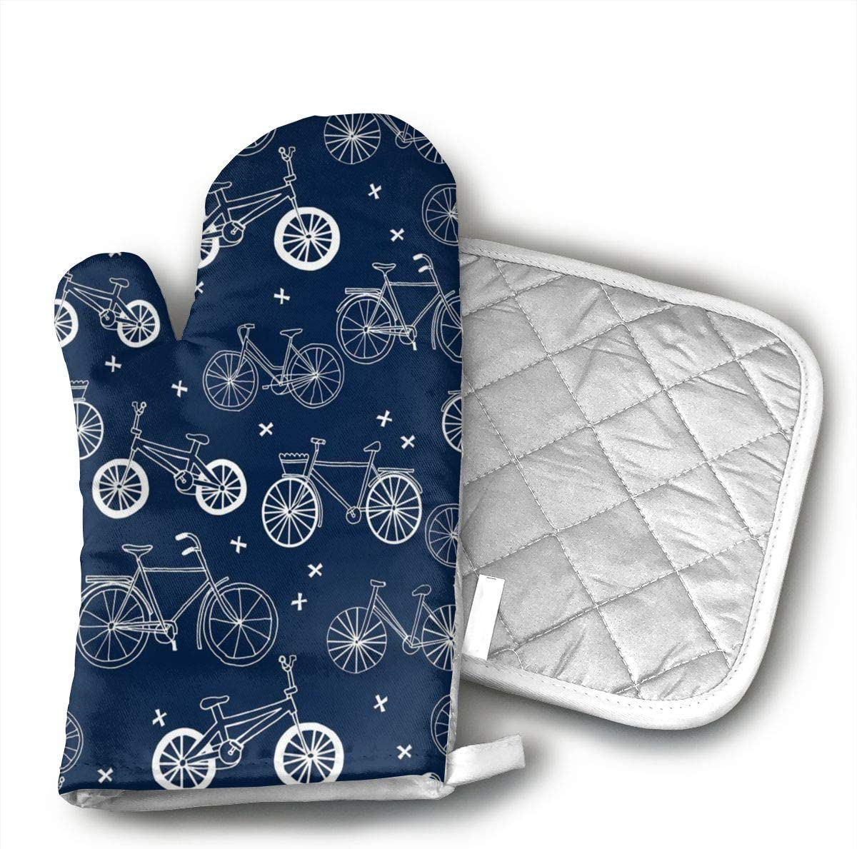 Wiqo9 Hand Drawn Navy Blue Kids Bikes Bicycles Oven Mitts and Pot Holders Kitchen Mitten Cooking Gloves,Cooking, Baking, BBQ.
