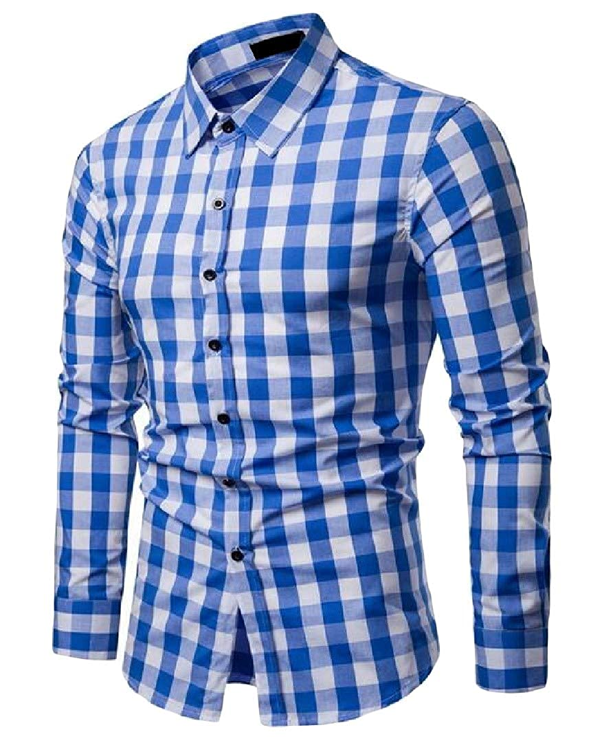 Lutratocro Mens Buffalo Check Button-Down Slim Fit Long Sleeve Shirts