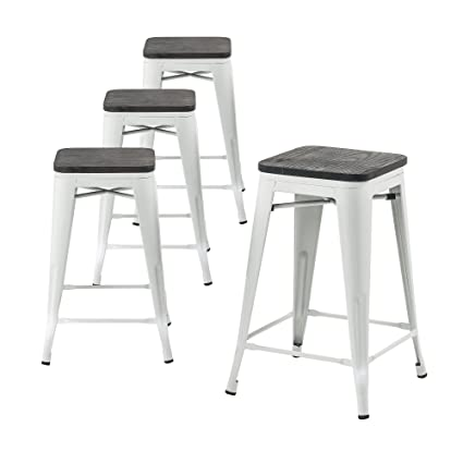 Magnificent Buschman Metal Bar Stools With Wooden Seat Vintage Dining Chairs For Bars Bistros Cafes Stackable Home Garden Chairs Indoor Outdoor Short Links Chair Design For Home Short Linksinfo