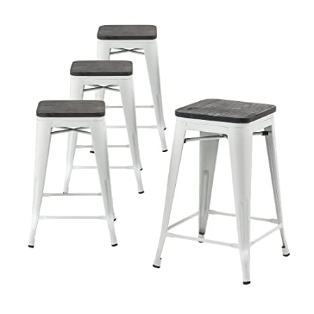 Buschman Metal Bar Stools 24 Counter Height, Indoor Outdoor and Stackable, Set of 4 Matte White with Wooden Seat