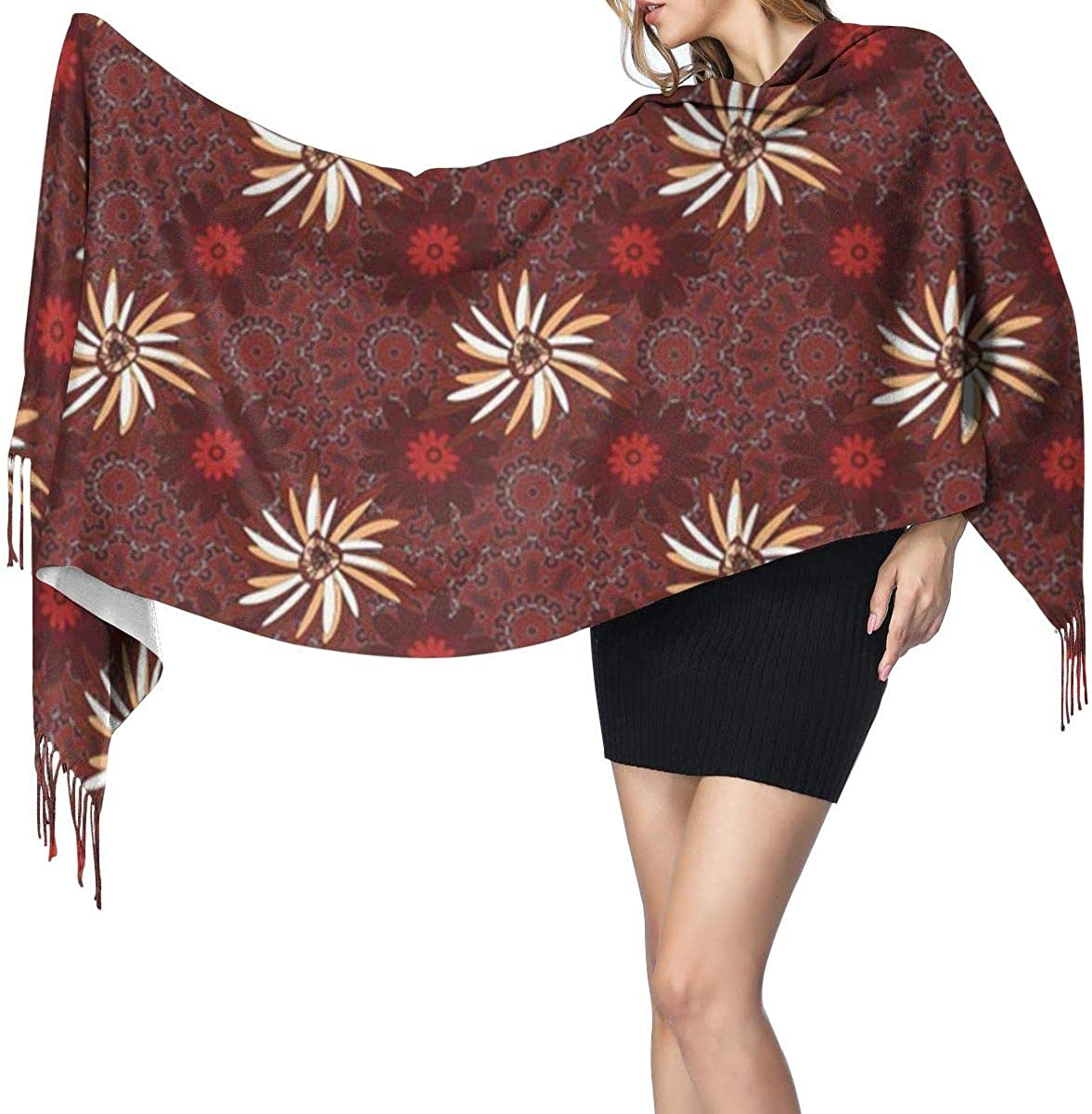 Soft Cashmere Scarf For Women Beautiful Abstract Cute Mille Fleurs Floral Red Brown And Gray Pattern Anniversary Beauty Fashion Lady Shawls,Comfortable Warm Winter Scarfs