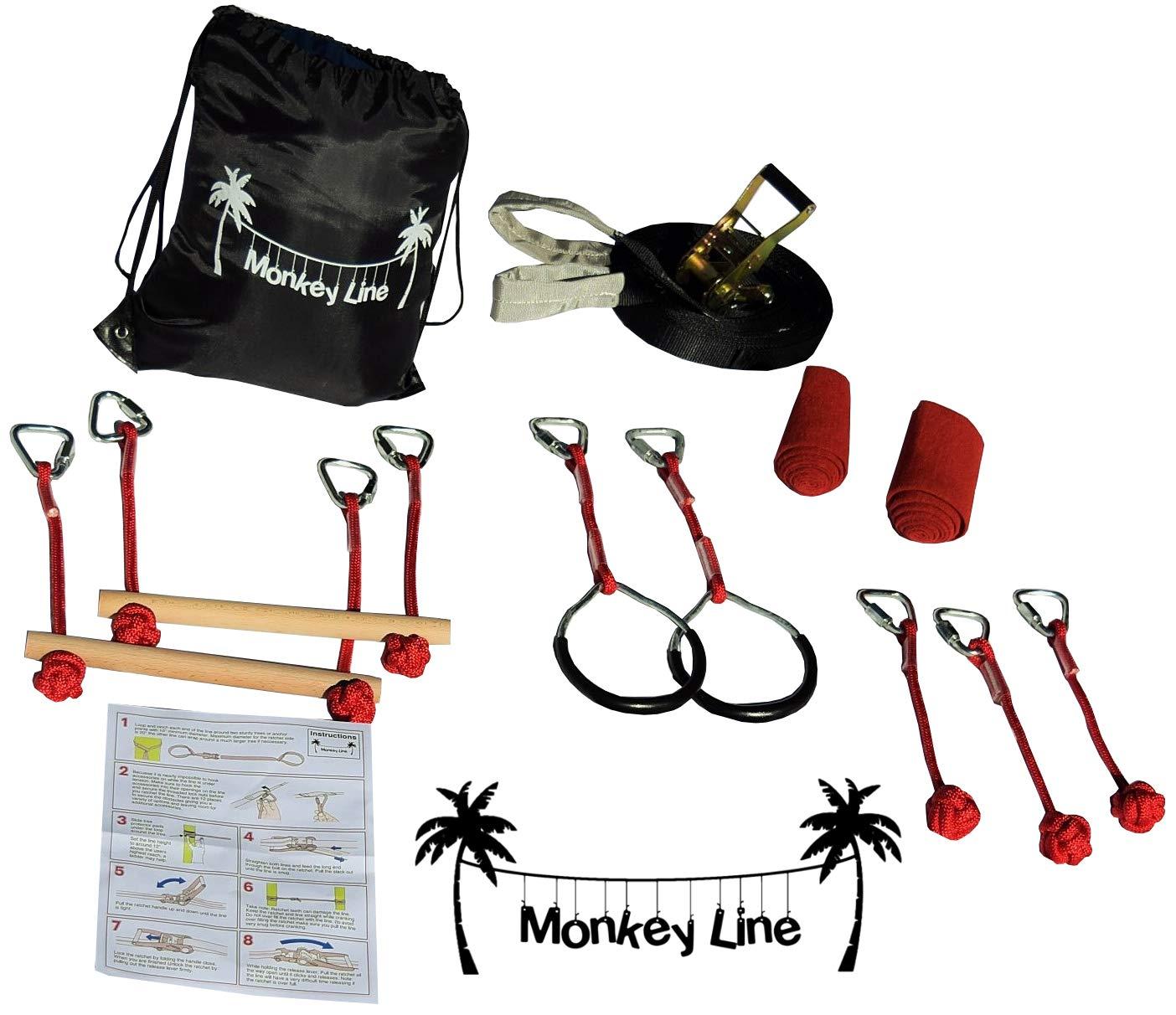 Monkey Line Jr. Ninja Warrior Junior Line 40 ft Ninja Warrior Backyard Training Equipment Kids | Fun Obstacles Slackline | Includes 7 Attachments