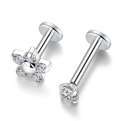 Gagabody 2pcs Cartilage Earring Studs 16g G23 Titanium Helix Flat Back Tragus Internally Thread