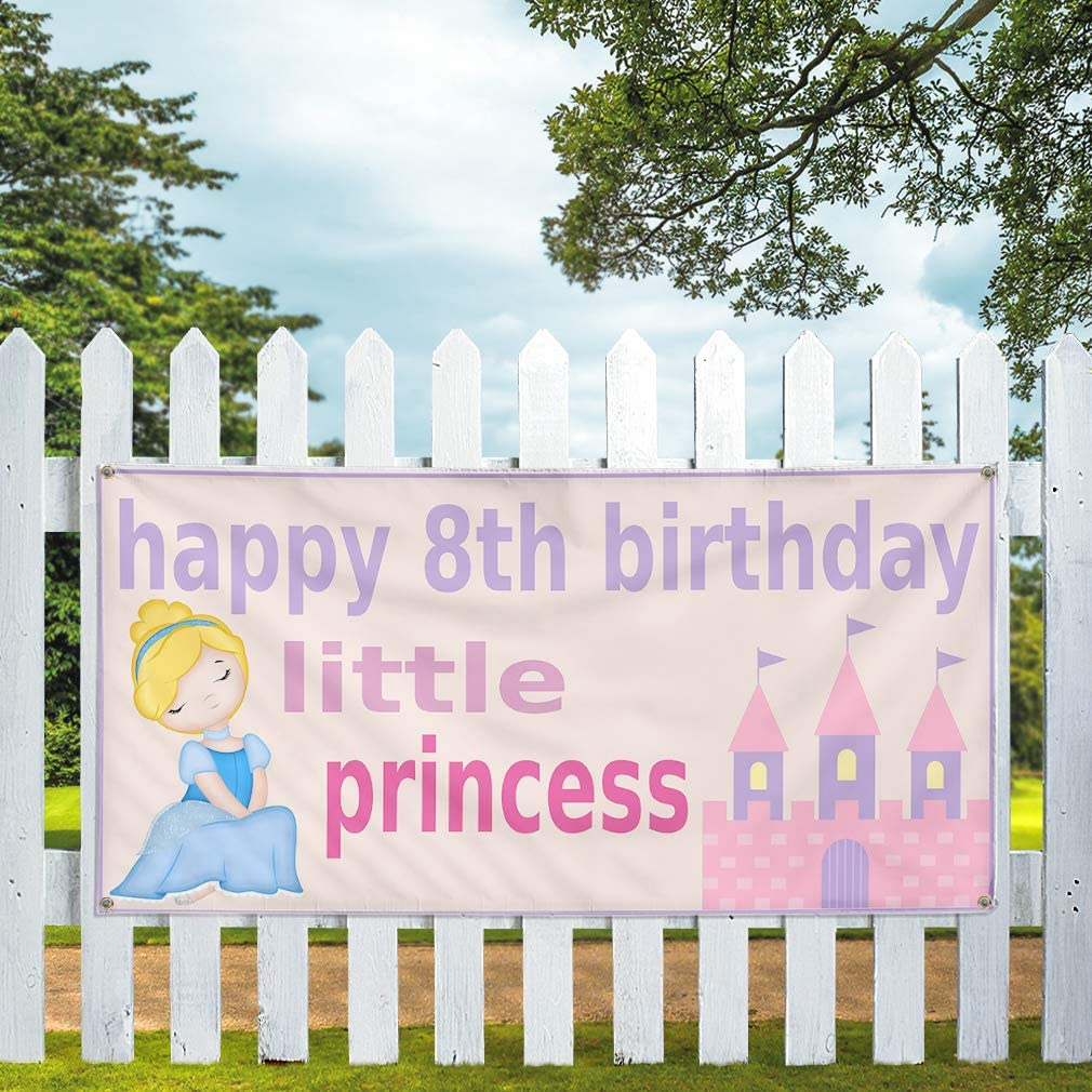 Multiple Sizes Available 24inx60in 4 Grommets Set of 3 Vinyl Banner Sign Happy 8th Birhday Princess Lifestyle Marketing Advertising Purple
