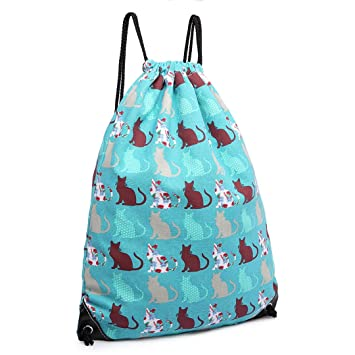 f8c0d08af0 Miss Lulu Gym Drawstring Bags Lightweight Canvas Casual Backpack Cats or  Horses Daypacks (cat teal