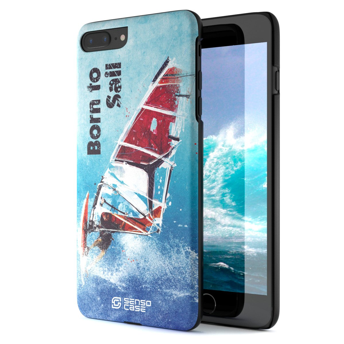 iPhone 7/8 Plus Case, Born For Windsurfing. Sensocase Premium Extreme Sports Unique Designer Tough Shell Thin Cover. Luxury, Anti-Fingerprint, Anti-Scratch Stylish Slim Protective Apple Phone Case. by SENSOCASE