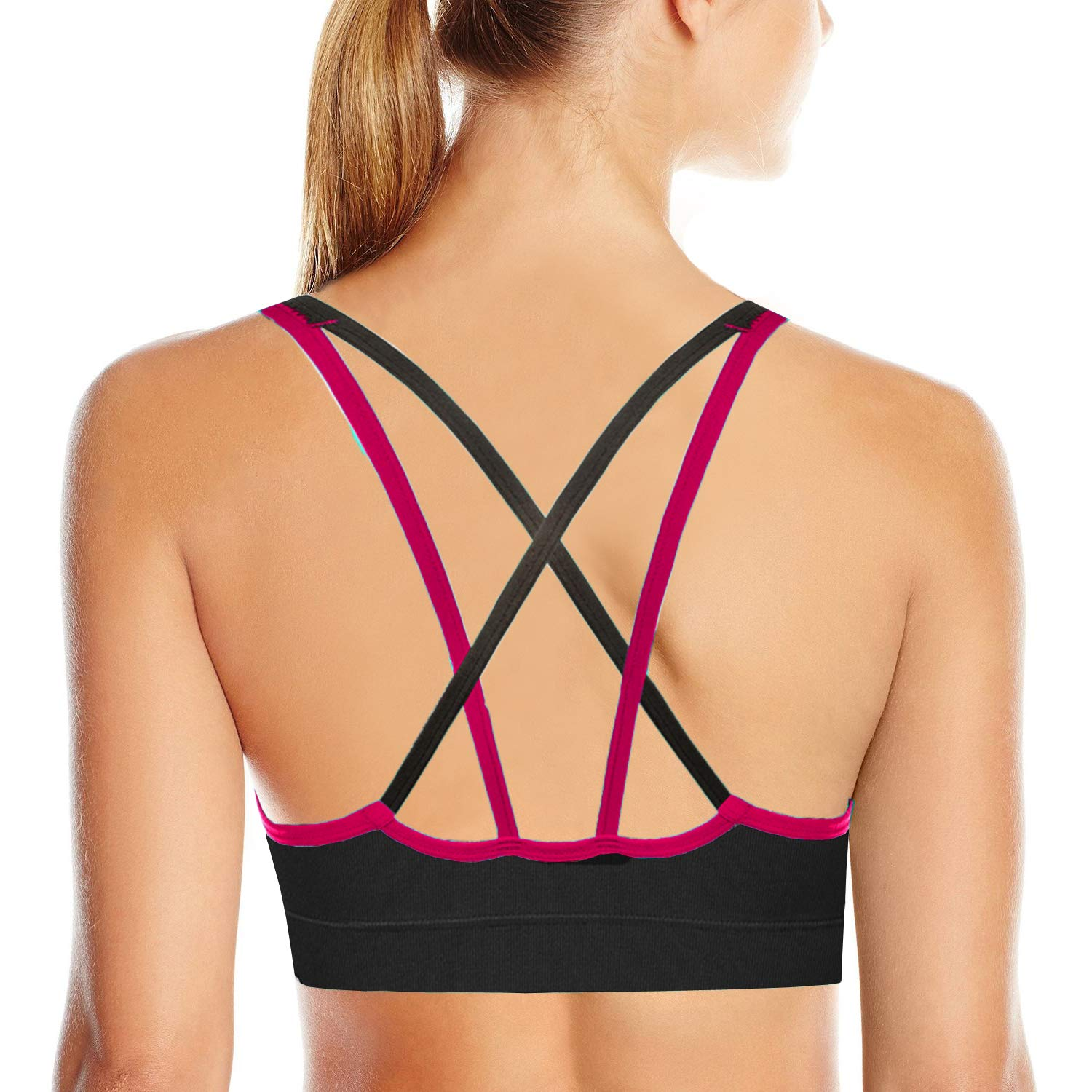 AKAMC Women's Removable Padded Sports Bras Medium Support Workout Yoga Bra 1 Pack,Small
