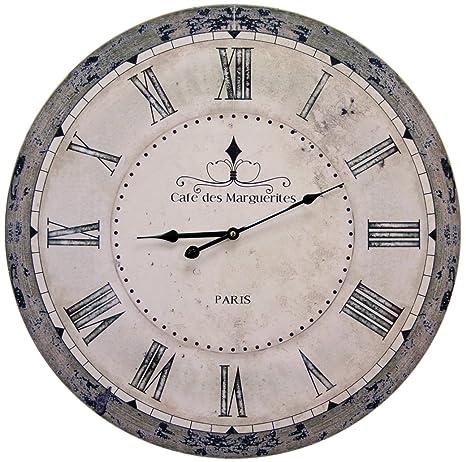 Elegante reloj de pared Shabby Cafe des Marguerites Paris, diámetro 60 cm