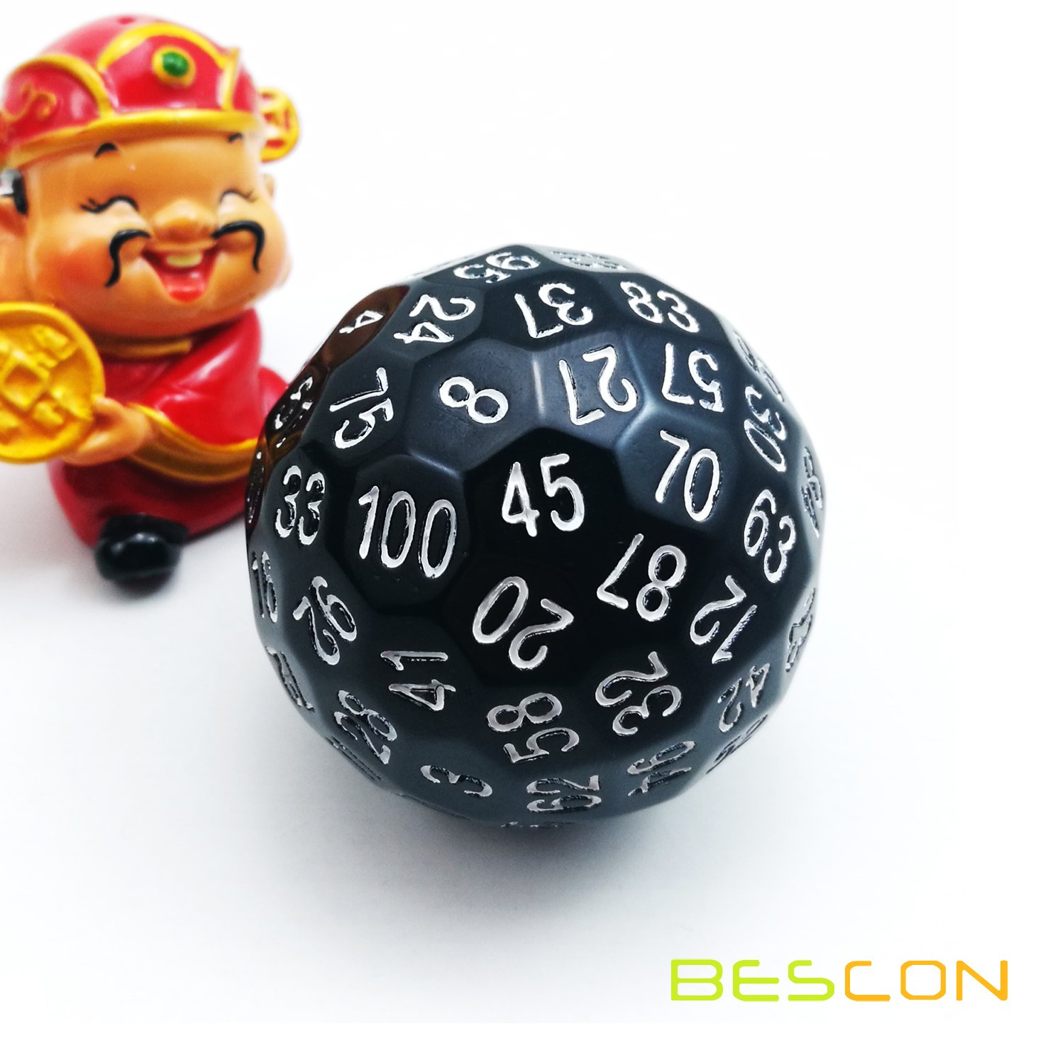 Bescon Polyhedral Dice 100 Sides Dice, D100 die, 100 Sided Cube, D100 Game Dice, 100-Sided Cube of Black Color