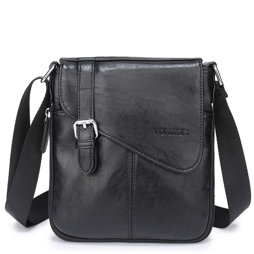 Men PU Flap Bag Shoulder Crossbody Bags Handbags Messenger Bags Black