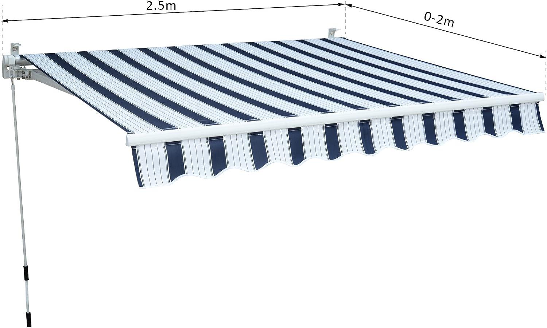 Outsunny Tenda da Sole Avvolgibile Manuale Esterno Tessuto di Poliestere 2.5 /× 2m Verde e Bianco