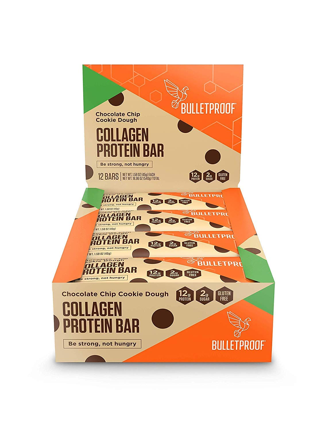 Bulletproof Bars Collagen Protein, Perfect Snack for Keto Diet, Paleo, Gluten-Free, For Men, Women, and Kids (Cookie Dough) by Bulletproof