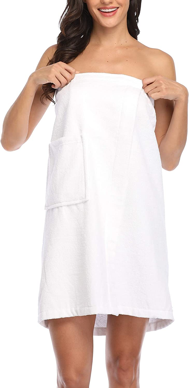 Suzanie Now free shipping Women's Over item handling Soft 100% Cotton Spa Bath Adju Shower Wrap Towel