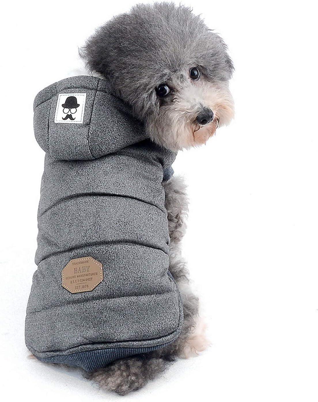 Zunea Chaleco de Perro pequeño Abrigo de Lana Forrada Abrigo de Invierno cálido Chaqueta de Cachorro con Capucha a Prueba de Viento Mascota de Chihuahua Ropa Ropa de Perrito Prendas de Vestir Gris S