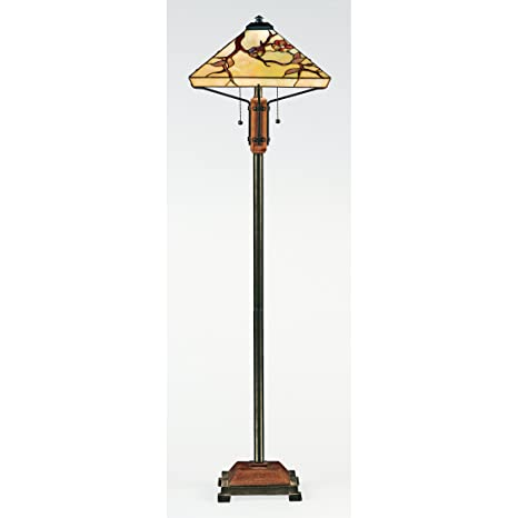 Quoizel Tf9404m Grove Park Flower Tiffany Floor Lamp 2 Light 200 Watts Iron With Wood Accents 61 H X 17 W