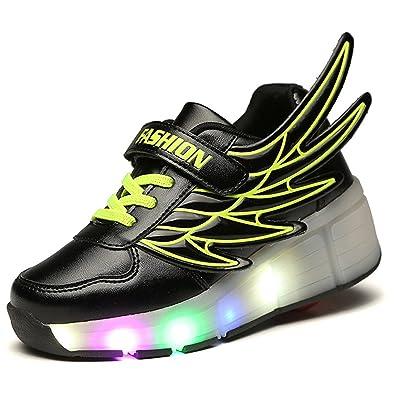 Fashion Led Kids Lightweight Wheelies Light Shoes Single Sneakers Up 4c3RLq5Aj