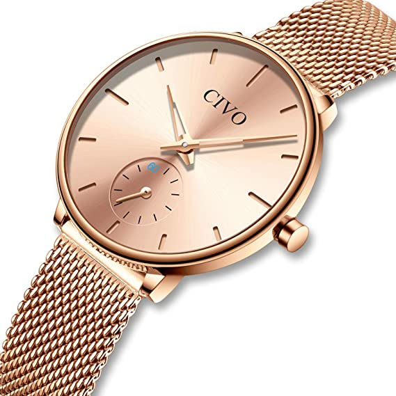 CIVO Relojes para Mujer Reloj Damas de Malla Impermeable Minimalista Elegante Banda de Acero Inoxidable Lujo