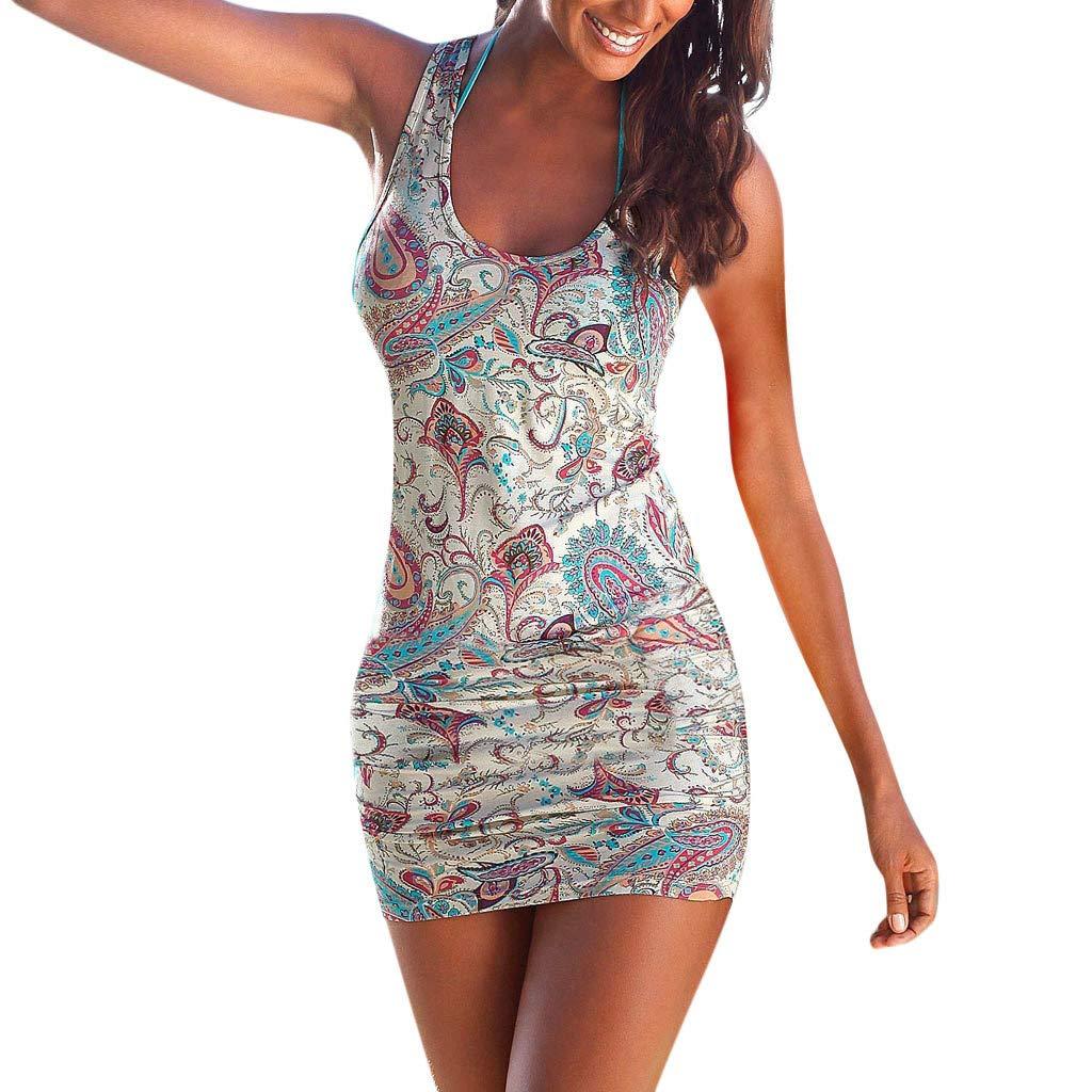 Likecrazy Damen Sommerkleid Sleeveless Beiläufige Bohemian O-Neck Strandkleid A-Linie Frauen Strandtunika Bikini Cover Up für Urlaub Patchwork Midikleid mit Tasche