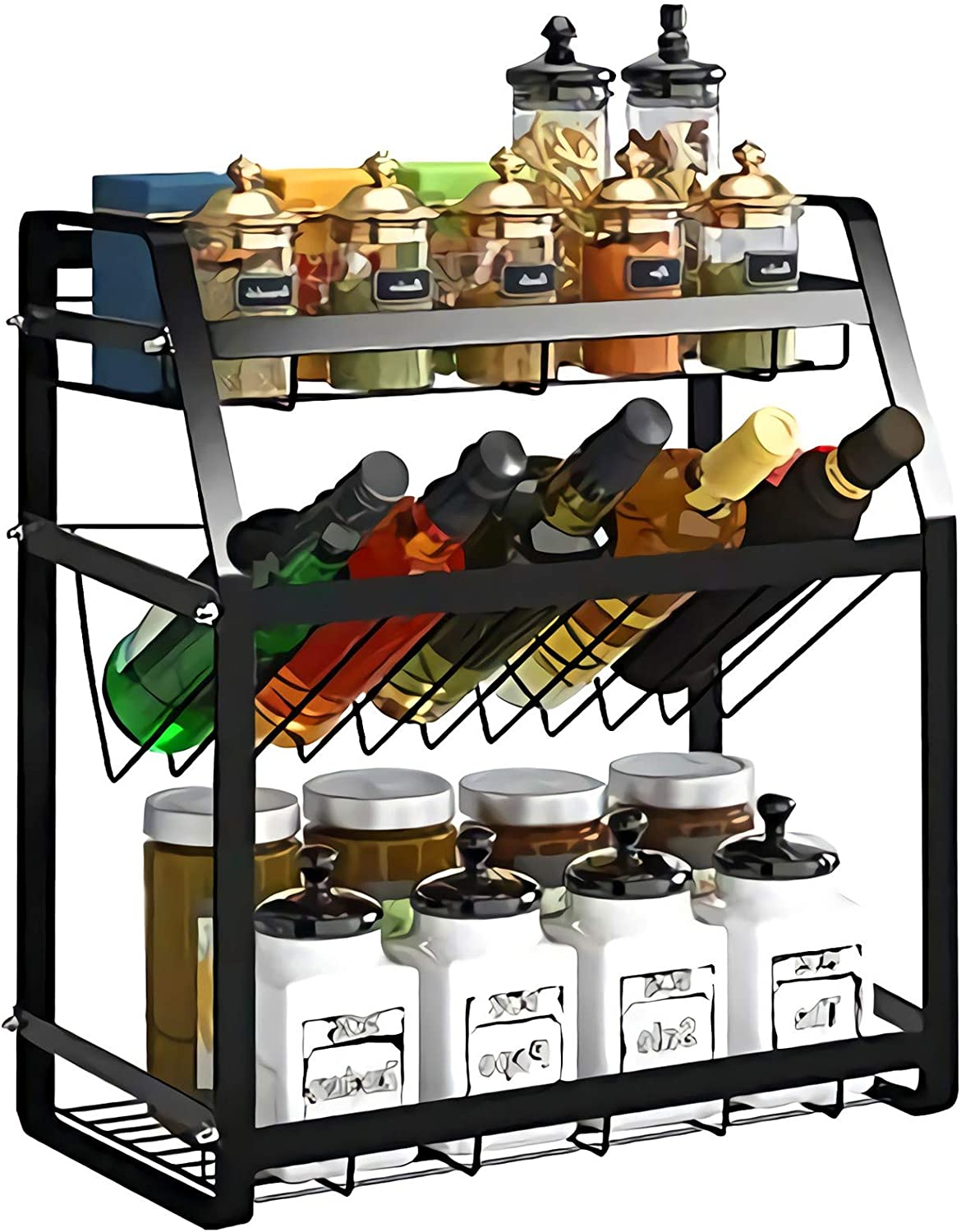 Spice Rack 3-Tier Kitchen Countertop standing Storage Organizer or Wall Mount Spice Rack Organizer Bathroom Shelf Holder Hanging Racks Seasoning Organizer For Your Kitchen Cabinet, Cupboard or Pantry Door