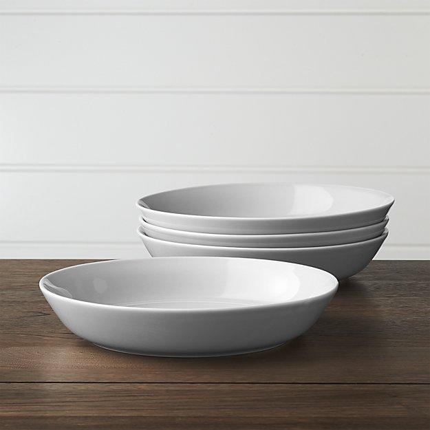 Set of 4 Hue Light Grey Low Bowls   Crate and Barrel