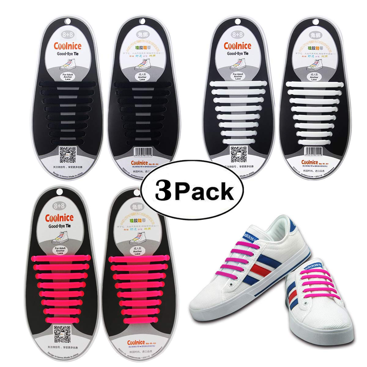Shackcom No Tie Flat Shoelaces 3 Pack For Kids Men Women | Waterproof Stretchy Silicone Tieless Shoe Laces | For Athletic Dress Shoes Hiking Boots More | Eliminate Loose Shoelace Accidents
