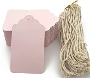 100pcs Pink Paper Hang Gift Tags, Blank Marking Tags with String