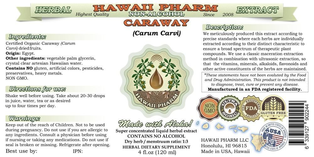 Caraway Alcohol-FREE Liquid Extract, Organic Caraway (Carum carvi) Dried Fruit Glycerite Hawaii Pharm Natural Herbal Supplement 2x4 oz by HawaiiPharm (Image #2)