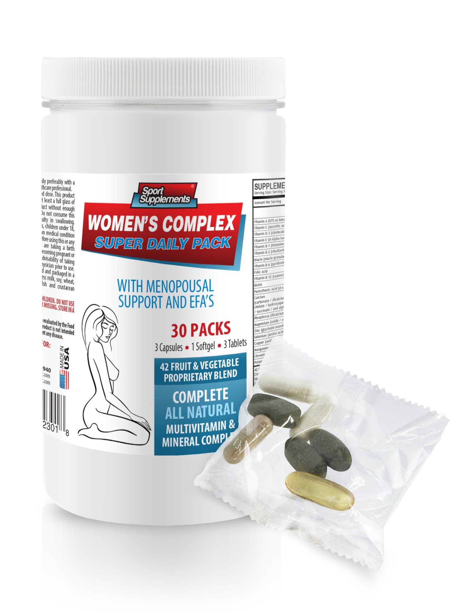 Female Enhancement Natural Booster - Women's Complex - Super Daily Pack - Wild yam and Black Cohosh - 1 Can 30 Packs (210 Pills)