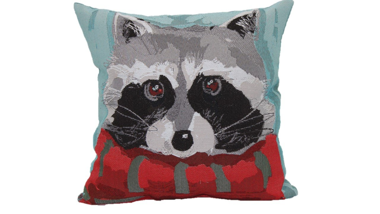 Brentwood Originals 8478 Raccoon with Scarf Tapestry Toss Pillow - PLUSH FILLING that provides extreme comfort and support for lounging around PERFECTLY VERSATILE designs to accent your bed or sofa as a throw pillow CONSITENT HIGH-END QUALITY from one of the top decorative pillow manufacturers, Brentwood Originals. - living-room-soft-furnishings, living-room, decorative-pillows - 71a2YlCLY%2BL -