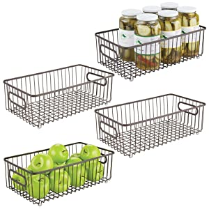 mDesign Metal Farmhouse Kitchen Pantry Food Storage Organizer Basket Bin - Wire Grid Design - for Cabinets, Cupboards, Shelves, Countertops - Holds Potatoes, Onions, Fruit - Large, 4 Pack - Bronze