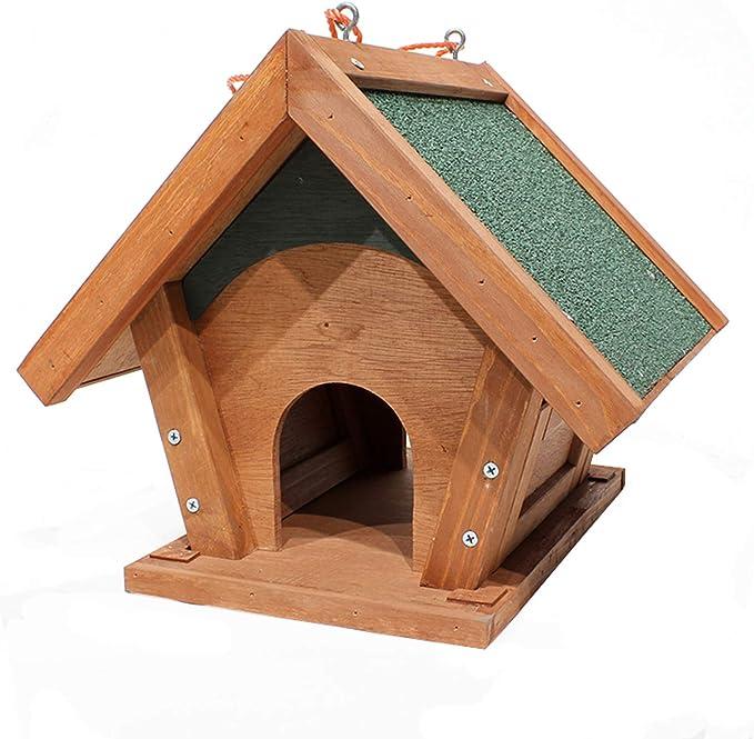 ASDQWER Alimentador de Aves Silvestres, casa de Aves de Madera Grande para pájaros pequeños, alimentador de Aves Silvestres de Madera Maciza, Colgante de Aves para atraer, cardenales y más