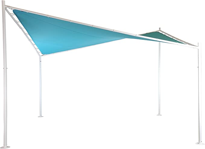 Pérgola (Glorieta) Mariposa | Color Azur | 400 x 400 cm | Cuadrada | SORARA | Poliéster 300 g/m2 (UV +50) | 48 Kg | Exterior - Patio - Cobertizo - Toldo - Jardín: Amazon.es: Jardín